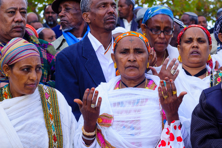 jewry: JERUSALEM, ISRAEL - NOVEMBER 11, 2015: Ethiopian Jewish prayers at the Sigd, in Jerusalem, Israel. The Sigd is an annual holiday of the Ethiopian Jewry Editorial