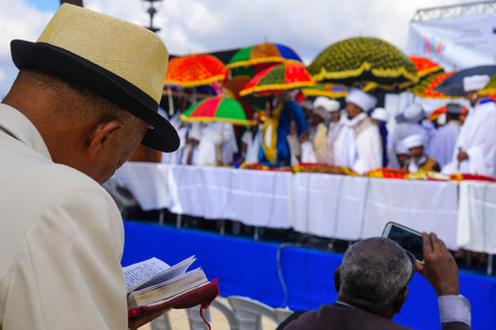 jewry: JERUSALEM, ISRAEL - NOVEMBER 11, 2015: Ethiopian Jewish prayers, and the religious leaders Kessim at the Sigd, in Jerusalem, Israel. The Sigd is an annual holiday of the Ethiopian Jewry