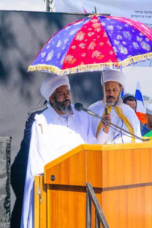 jewry: JERUSALEM, ISRAEL - NOVEMBER 11, 2015: The head of the religious leaders Kessim of the Ethiopian Jewry speaks at the Sigd, in Jerusalem, Israel. The Sigd is an annual holiday of the Ethiopian Jewry