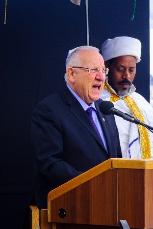 jewry: JERUSALEM, ISRAEL - NOVEMBER 11, 2015: President Reuven Rubi Rivlin speaks at the Sigd, in Jerusalem, Israel. The Sigd is an annual holiday of the Ethiopian Jewry