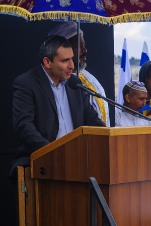 immigrant: JERUSALEM, ISRAEL - NOVEMBER 11, 2015: Zeev Elkin Minister of Immigrant Absorption and Minister of Jerusalem Affairs speaks at the Sigd, in Jerusalem, Israel.