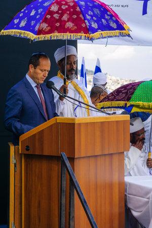 ethiopian: JERUSALEM, ISRAEL - NOVEMBER 11, 2015: Nir Barkat, Mayor of Jerusalem, speaks at the Sigd, in Jerusalem, Israel. The Sigd is an annual holiday of the Ethiopian Jewry Editorial