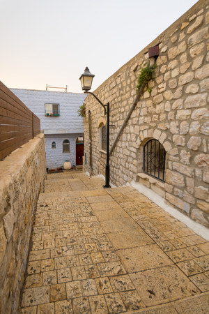 kabbalah: An alley in the old city of Safed Tzfat, Israel Stock Photo