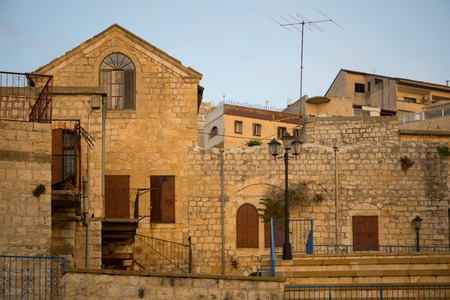 Sunset scene in the artist quarter, in Safed Tzfat, Israel