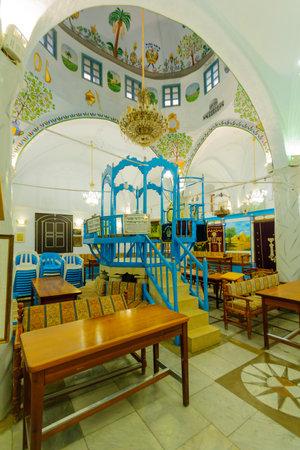 kabbalah: SAFED, ISRAEL - NOVEMBER 17, 2015: The Abuhav Synagogue, in the Jewish quarter, in Safed Tzfat, Israel