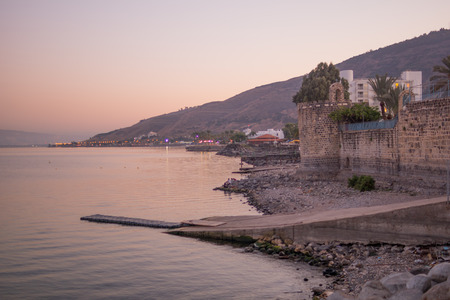 Sunset view of the Sea of Galilee, in Tiberias, Israel