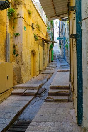 nazareth: NAZARETH, ISRAEL - DECEMBER 16, 2015: Empty alleys in the old city of Nazareth, Israel Editorial