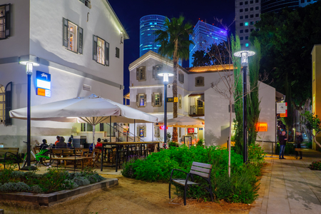 TEL AVIV, ISRAEL - JANUARY 14, 2016: Night scene of the Sarona compound, in Tel Aviv, Israel. Its a renewed Templar settlement, turn into leisure and shopping complex.