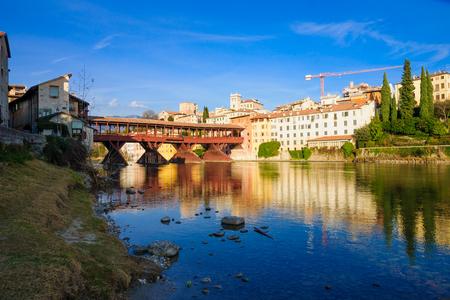 ponte: The Ponte Vecchio or Ponte degli Alpini bridge, and the Brenta river, in Bassano del Grappa, Veneto, Italy Stock Photo
