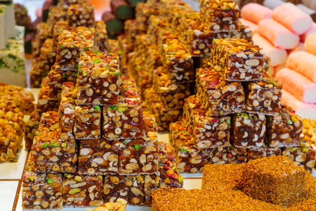 acre: Various sweets on sale in the market of the old city, in Acre, Israel Stock Photo