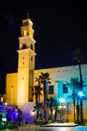 yafo: Night view of the St. Peter Church, in the old city of Jaffa, Now part of Tel-Aviv Yafo, Israel Stock Photo
