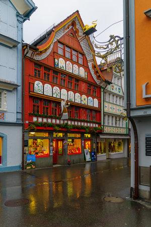 december 31: APPENZELL, SWITZERLAND - DECEMBER 31, 2015: Painted houses, in Appenzell, Switzerland