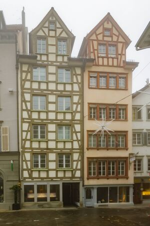 st gallen: ST. GALLEN, SWITZERLAND - JANUARY 01, 2016: Typical houses with oriel windows in the old town, in St. Gallen, Switzerland