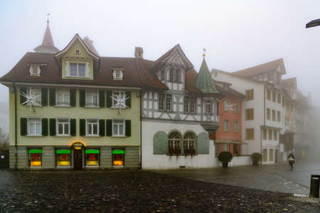 st gallen: ST. GALLEN, SWITZERLAND - JANUARY 01, 2016: Typical houses in the old town, in St. Gallen, Switzerland