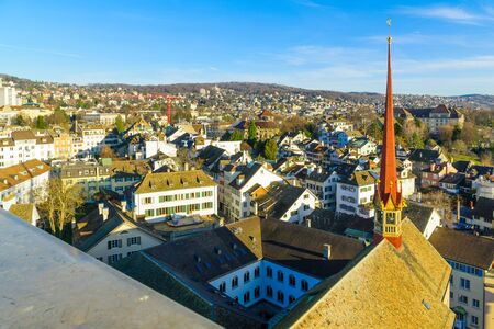 grossmunster cathedral: An aerial view of the Old Town Altstadt of Zurich, Switzerland Stock Photo