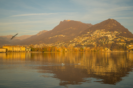 lakeside: Lakeside view of Lugano, in Ticino, Switzerland
