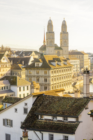 altstadt: View of the old town Altstadt and the Grossmunster great minster church, in Zurich, Switzerland