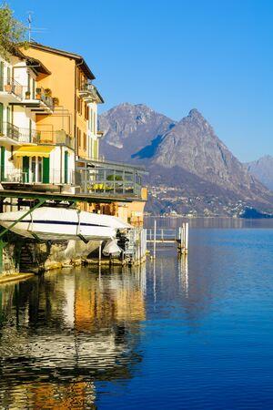 lakefront: Lakeside view in the village Gandria, On Lake Lugano, Ticino, Switzerland Stock Photo