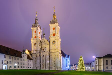 st gallen: Night view of the cathedral, with a Christmas tree, in St. Gallen, Switzerland