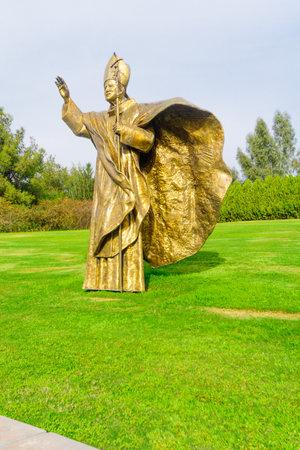 beatitude: KORAZIM, ISRAEL - JANUARY 22, 2016: A statue of Pope John Paul II in the Domus Galilaeae House of Galilee Monastery, on the peak of Mount of Beatitudes, Israel