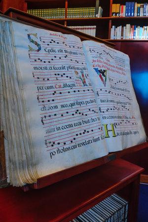 beatitude: KORAZIM, ISRAEL - JANUARY 22, 2016: The Library in the Domus Galilaeae House of Galilee Monastery, on the peak of Mount of Beatitudes, Israel Editorial