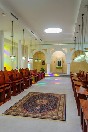 congregation: KORAZIM, ISRAEL - JANUARY 22, 2016: The congregation room in the Domus Galilaeae House of Galilee Monastery, on the peak of Mount of Beatitudes, Israel