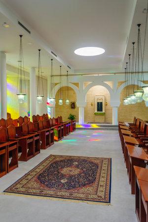 beatitude: KORAZIM, ISRAEL - JANUARY 22, 2016: The congregation room in the Domus Galilaeae House of Galilee Monastery, on the peak of Mount of Beatitudes, Israel