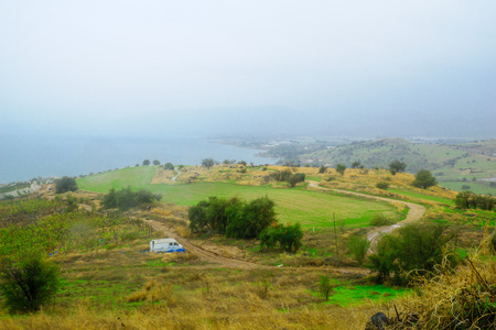 galilee: View of the Sea of Galilee from the Mount of Beatitudes, Northern Israel Stock Photo