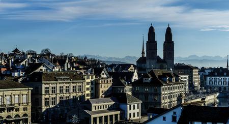 altstadt: Skyline view of the Old Town Altstadt, with the Grossmunster great minster Church, In Zurich, Switzerland