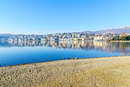 lakefront: View of the lakefront, in Lugano, Ticino, Switzerland
