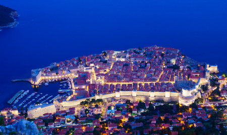 srd: Night view on the old city of Dubrovnik from above, in Dalmatia, Croatia