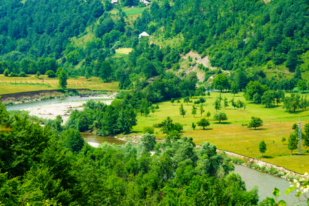 Countryside and the Lim River landscape near Andrijevica, Montenegro