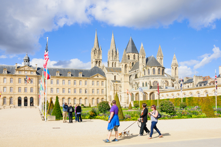 basse normandy: CAEN, FRANCE - SEPTEMBER 19, 2012: View of the Abbey of Saint-Etienne, with locals and visitors, in Caen, Normandy, France