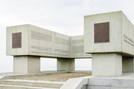 omaha: OMAHA BEACH, FRANCE - SEPTEMBER 21, 2012: A National Guard memorial near Omaha Beach, Normandy, France
