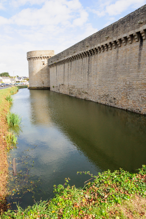 The walls and a canal (moat) of Guerande, Loire-Atlantique, France