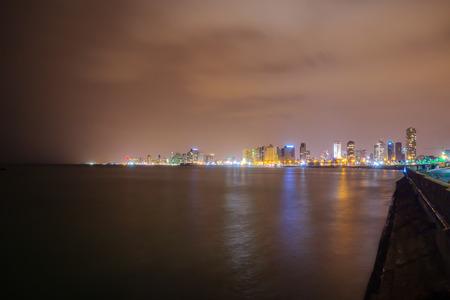 yaffo: Night view of the Tel-Aviv skyline, from Jaffa, Tel-Aviv, Israel