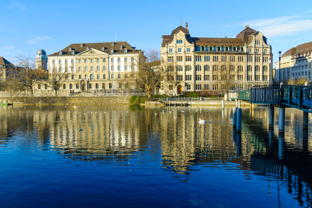 west bank: View of the west bank of the Limmat River,  In Zurich, Switzerland Stock Photo