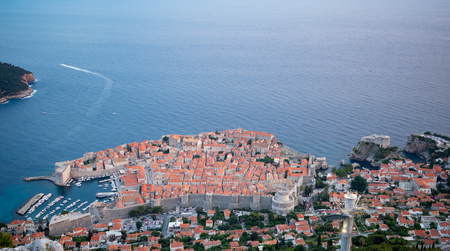 srd: Sunset view on the old city of Dubrovnik from above, in Dalmatia, Croatia Stock Photo