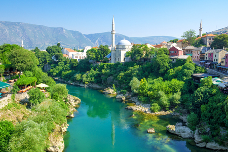 minarets: Mosques and minarets in the old city of Mostar, Bosnia and Herzegovina