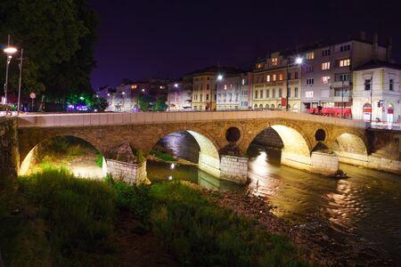 The Latin Bridge at night, in Sarajevo, Bosnia and Herzegovina