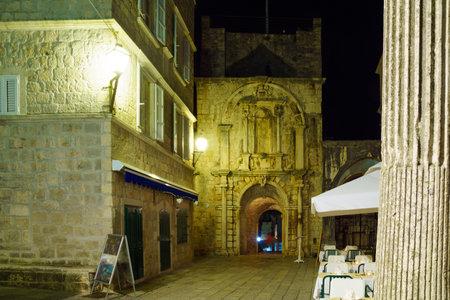 dalmatia: Night view of the Main (Land) Gate of the old town, in Korcula, Dalmatia, Croatia