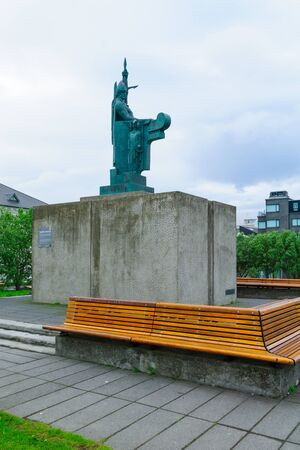 settler: REYKJAVIK, ICELAND - JUNE 11, 2016: The Statue of Ingolfr Arnarson, first Viking settler of the country, in Reykjavik, Iceland