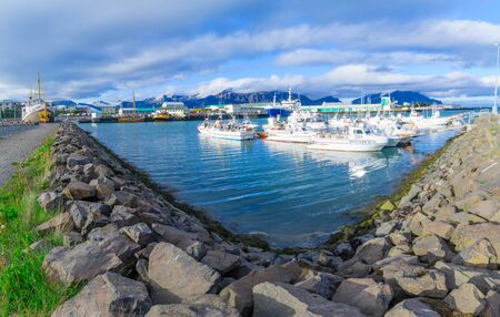 southeastern: HOFN, ICELAND - JUNE 13, 2016: View of the harbor of Hofn, in southeastern Iceland