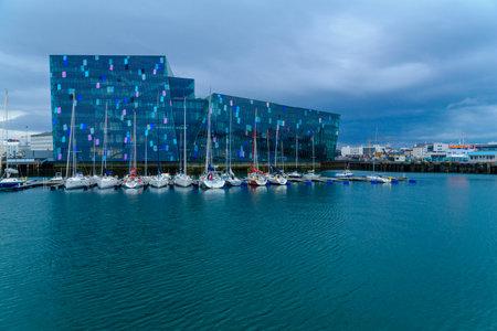 conference center: REYKJAVIK, ICELAND - JUNE 10, 2016: The Harpa concert hall and conference center, in Reykjavik, Iceland