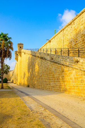 View of the land walls of the old city of Acre, Israel Editorial