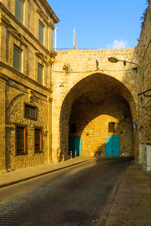 View from the inside of the land gate in the walls of the old city of Acre, Israel Editorial