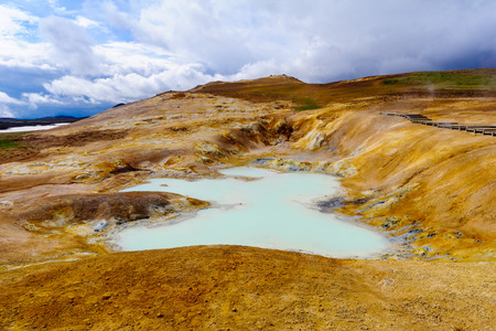 Hot pool on the Krafla volcano. Near Lake Myvatn, Northeast Iceland