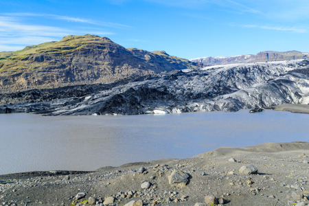 View of the Solheimajokull Glacier, in south Iceland Stock Photo