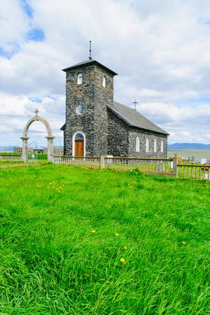 northwest: View of the old church of Thingeyrar, northwest Iceland