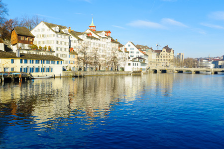 View of the west bank of the Limmat River,  In Zurich, Switzerland Stock Photo